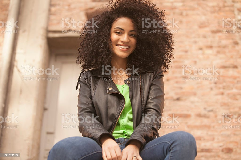 African american young woman smiling stock photo