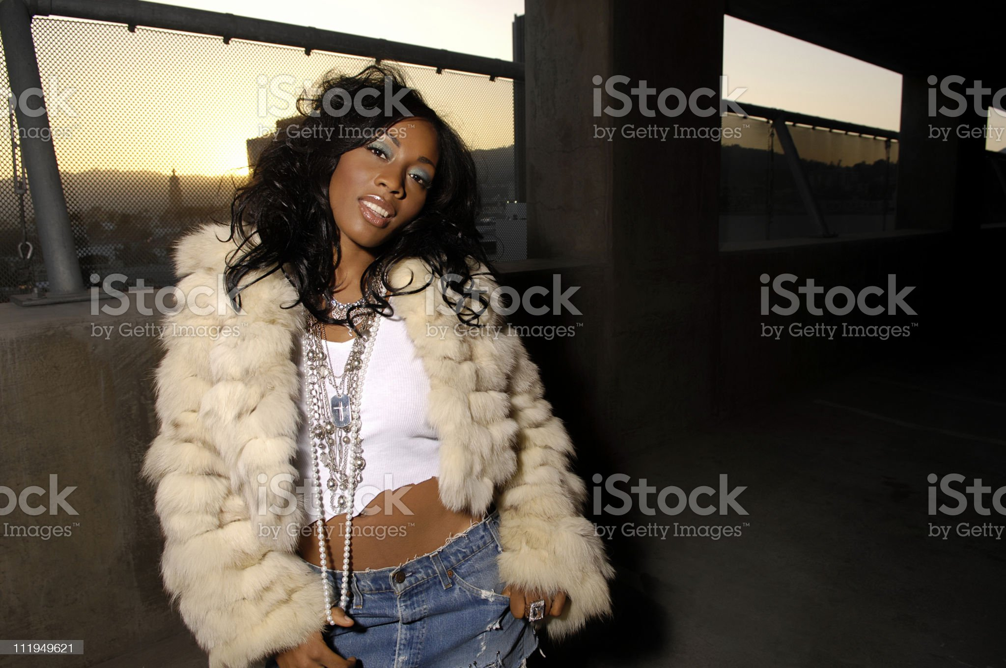 African American Young Woman with Hip Hop Vibe Bling royalty-free stock photo