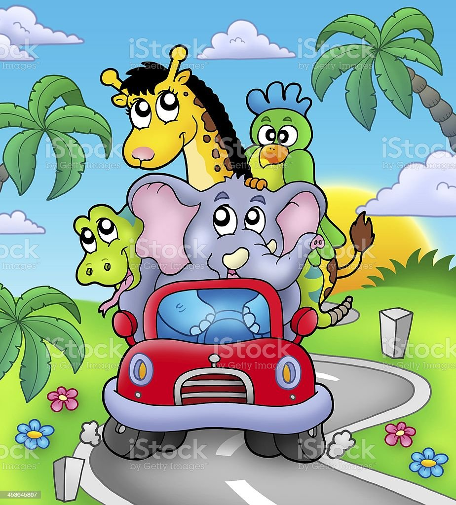African animals in car on road stock photo