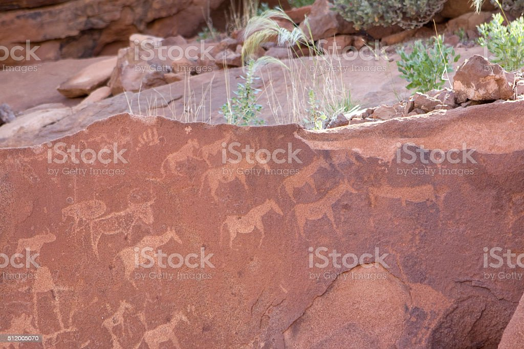 African antelope petroglyph rock art of Twyfelfontein Namibia stock photo