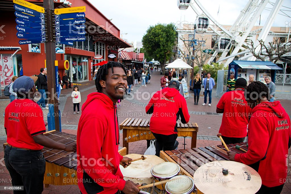 African Band doing a street presentation at V&A Waterfront stock photo