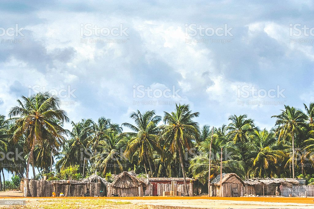 African beach village, Benin. stock photo