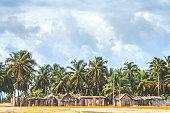 African beach village, Benin.