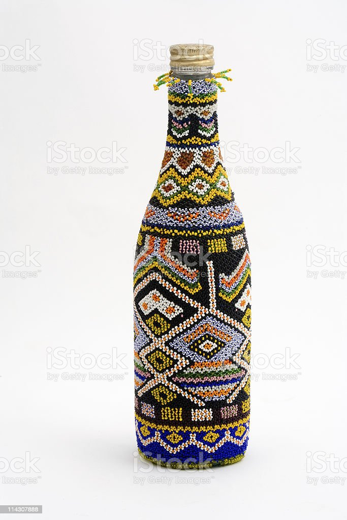 African beaded bottle royalty-free stock photo