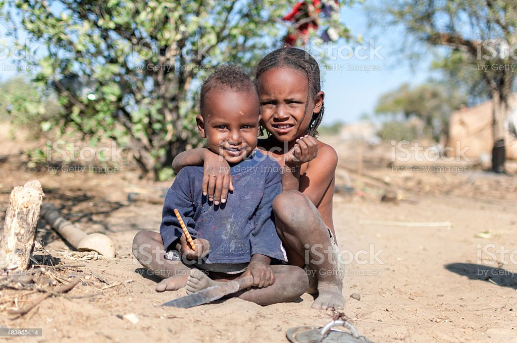 African boy and girl stock photo