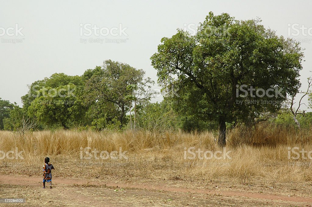 African Boy - Dirt Road royalty-free stock photo