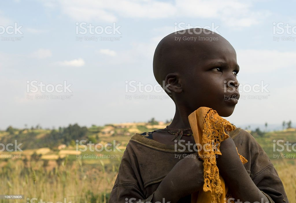 African boy in the fields royalty-free stock photo