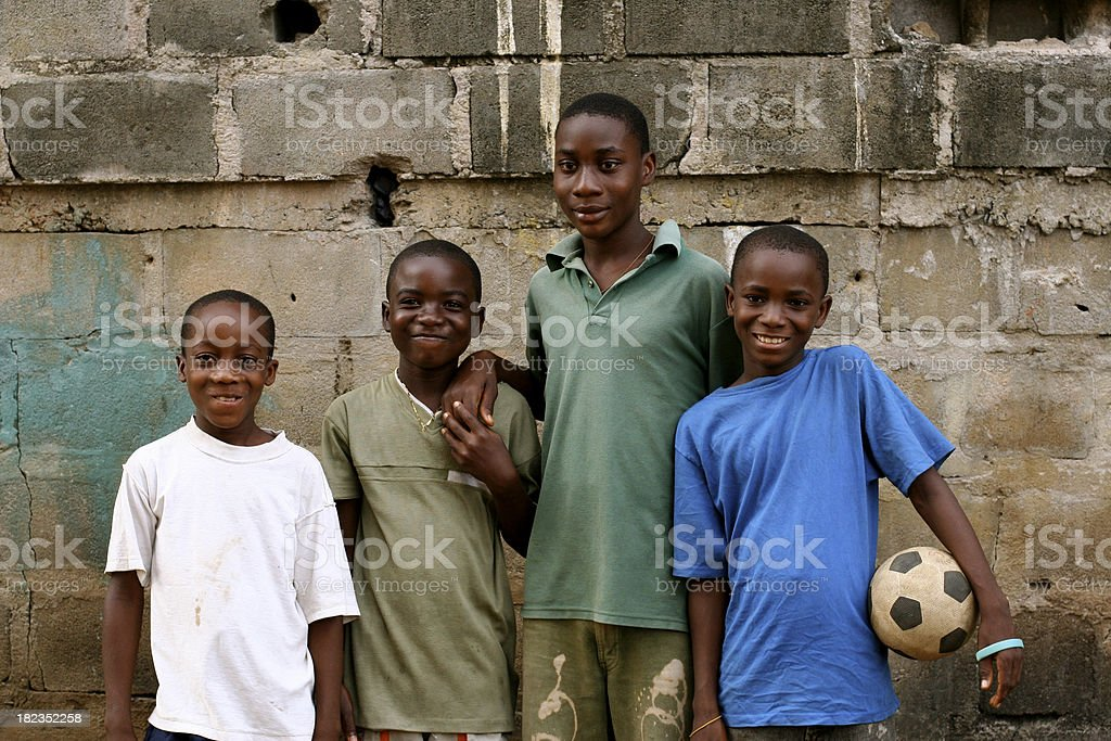 African Boys with Soccer Ball stock photo