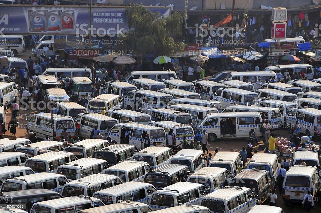 African bus station - matatu agglomeration, Kampala, Uganda royalty-free stock photo