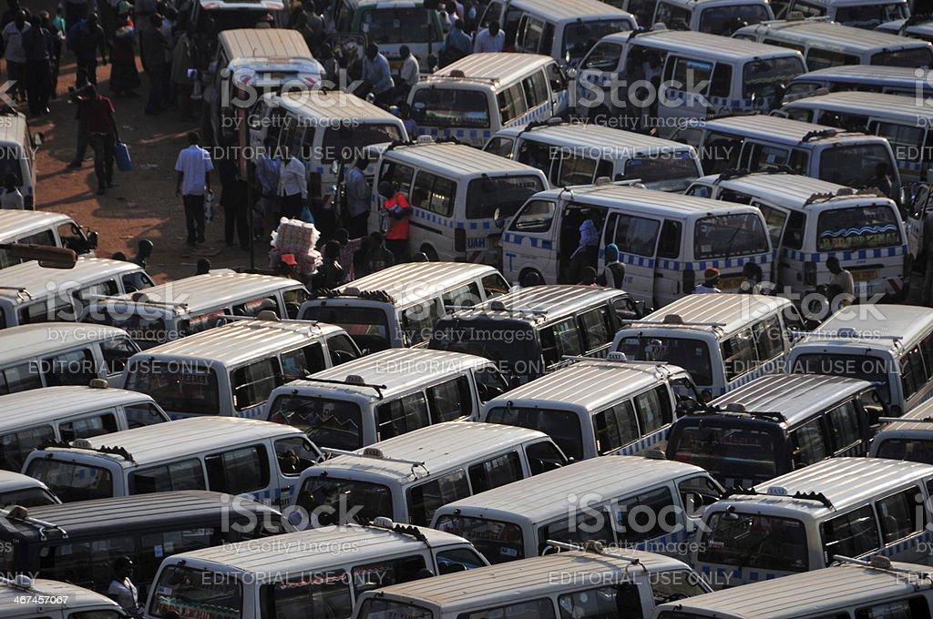African bus station - share taxi agglomeration, Kampala, Uganda royalty-free stock photo