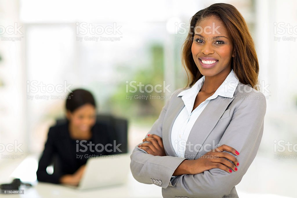 african business woman in office stock photo