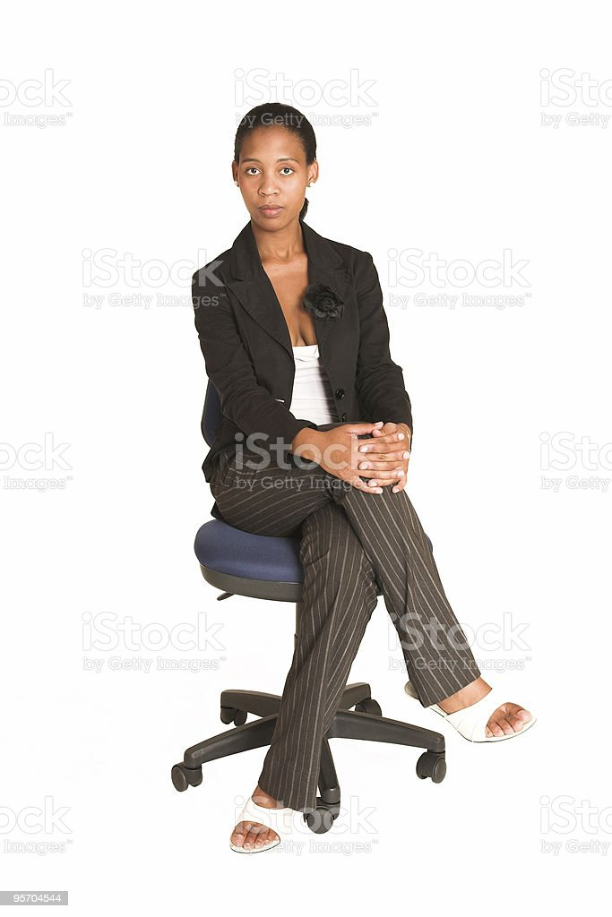 African business woman on office chair royalty-free stock photo