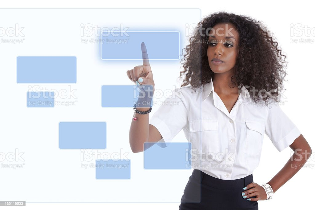 African business woman pushing  a transparent screen royalty-free stock photo