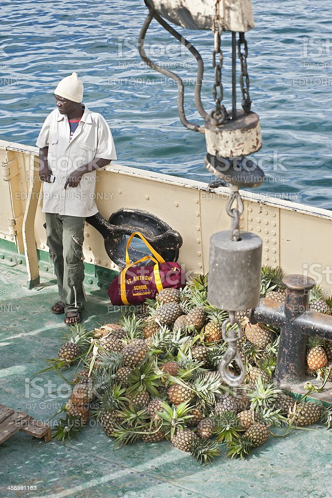african businessman with pineapples on board of the MV Liemba royalty-free stock photo