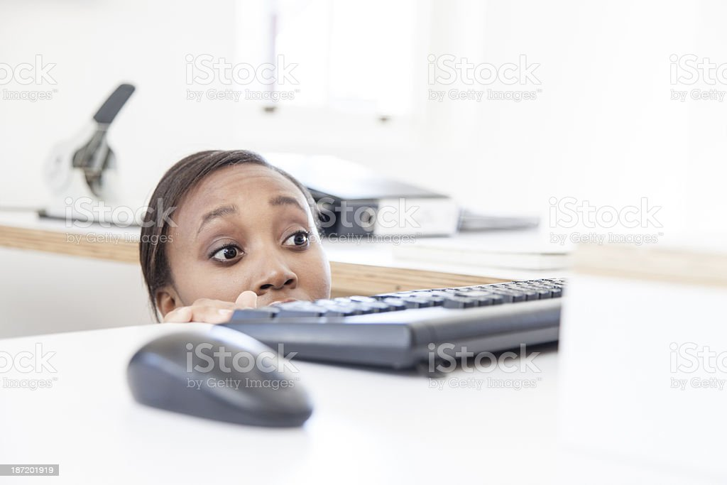 African Businesswomen looking out for her boss stock photo