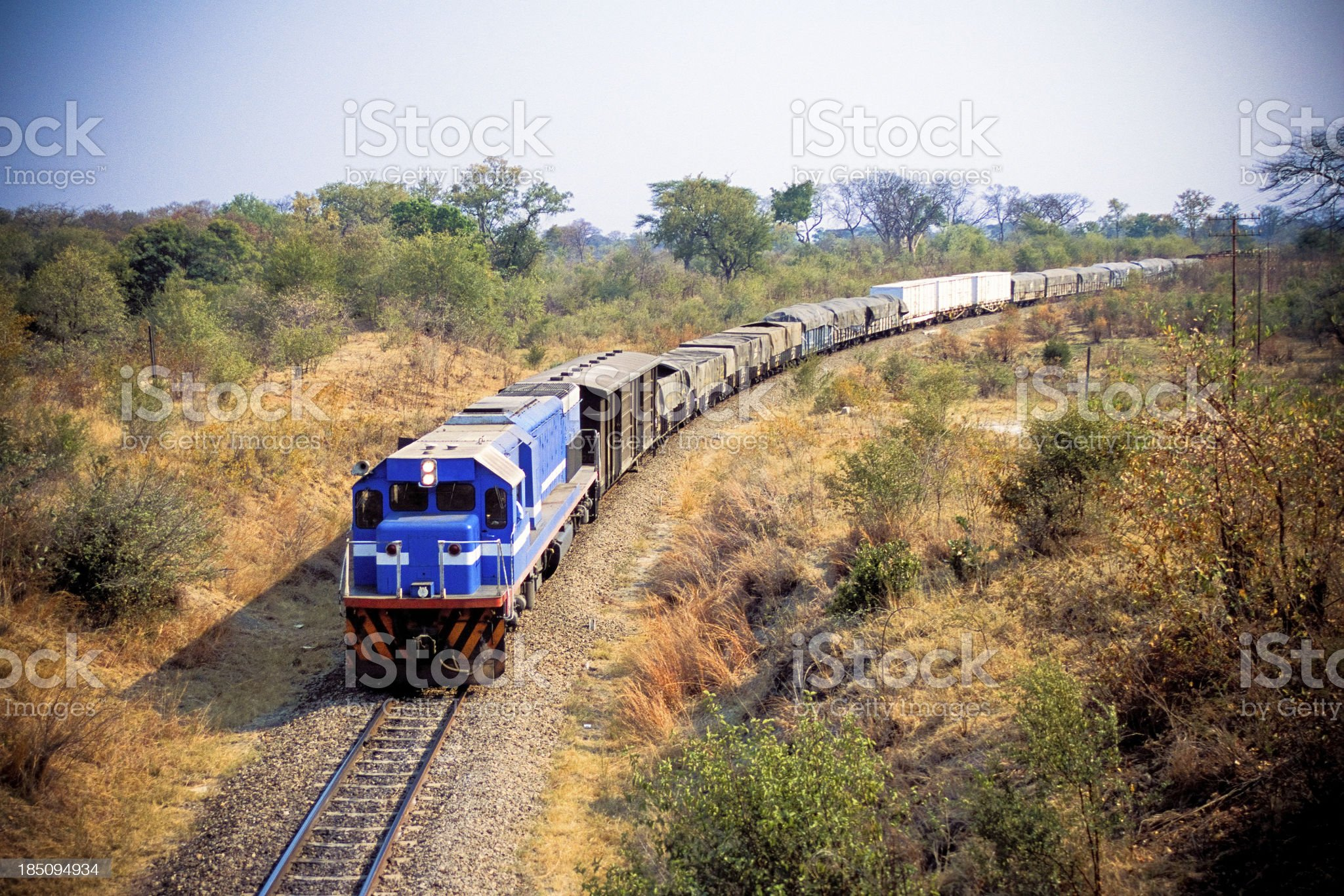 African cargo train between Zimbabwe and Zambia royalty-free stock photo