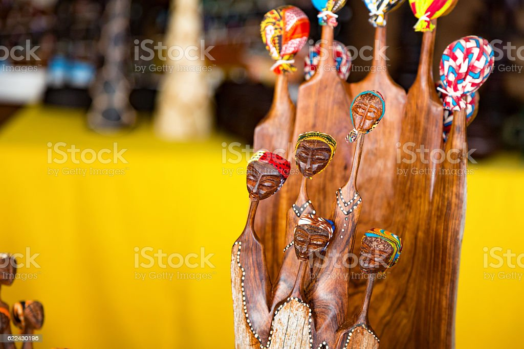 African carving of a group of women stock photo
