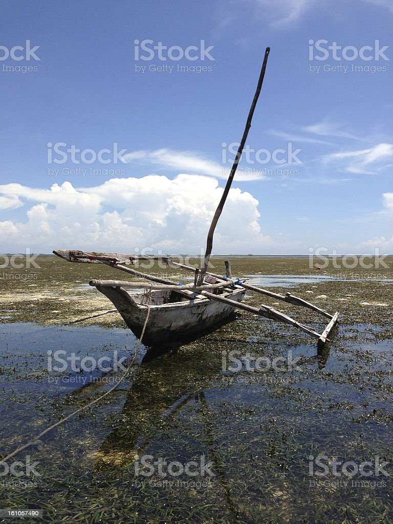 African catamaran in the low tide. royalty-free stock photo