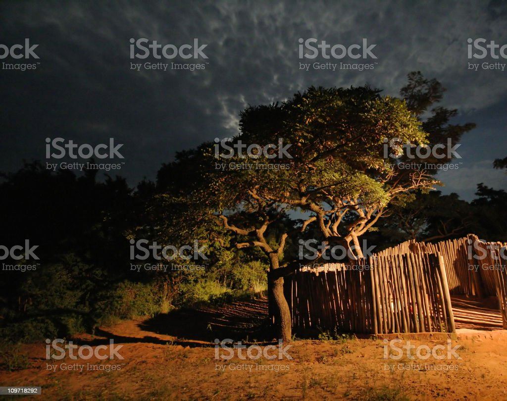 African Cattle Kraal at Night royalty-free stock photo