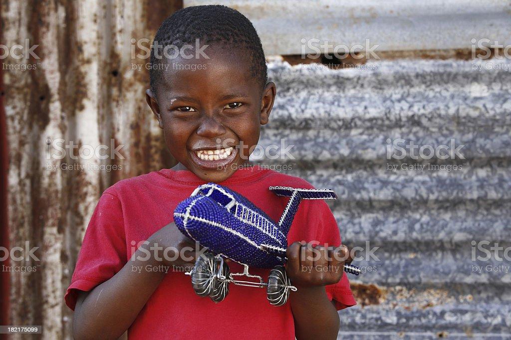 African child toy aeroplane royalty-free stock photo