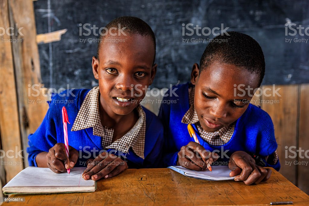 African children during English language class, Kenya stock photo