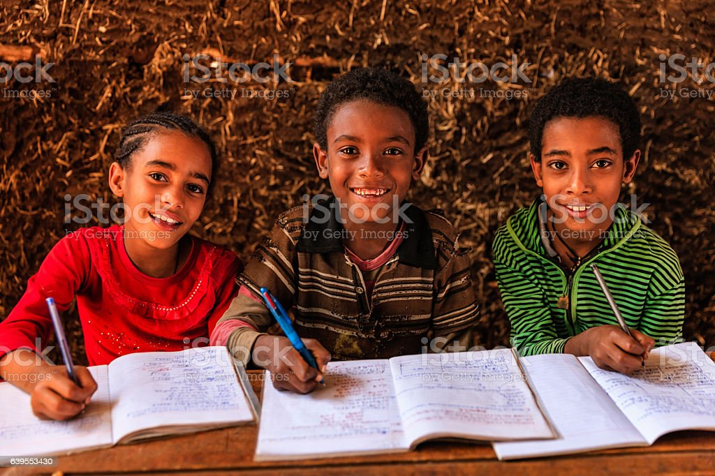 African children during the class, East Africa stock photo