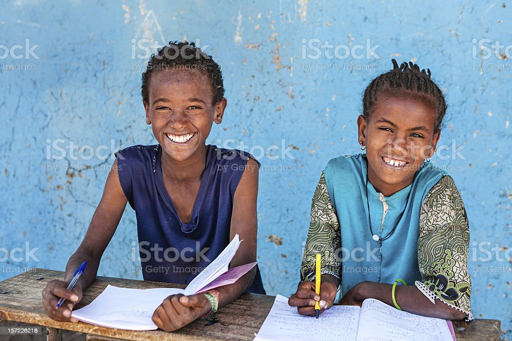African children learning English language stock photo