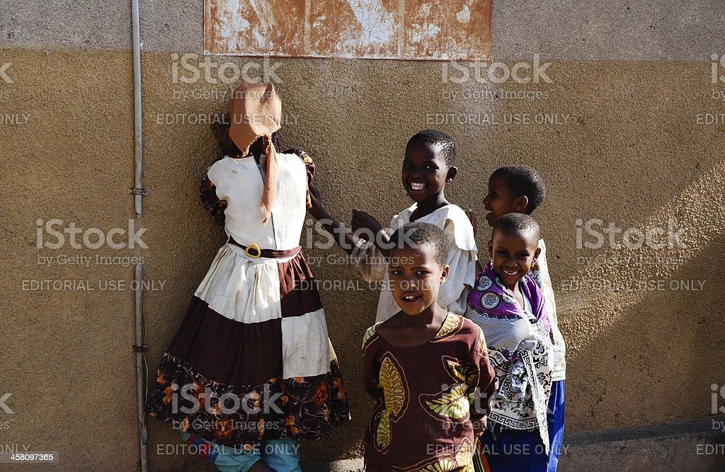 African children playing hide and seek royalty-free stock photo