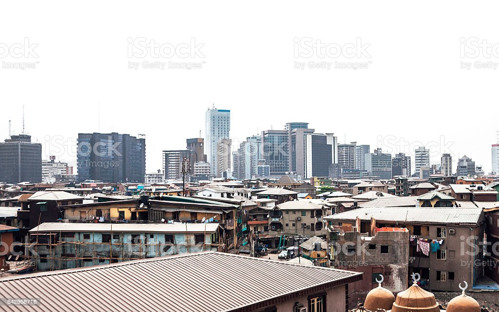 African city skyline - Lagos, Nigeria. stock photo