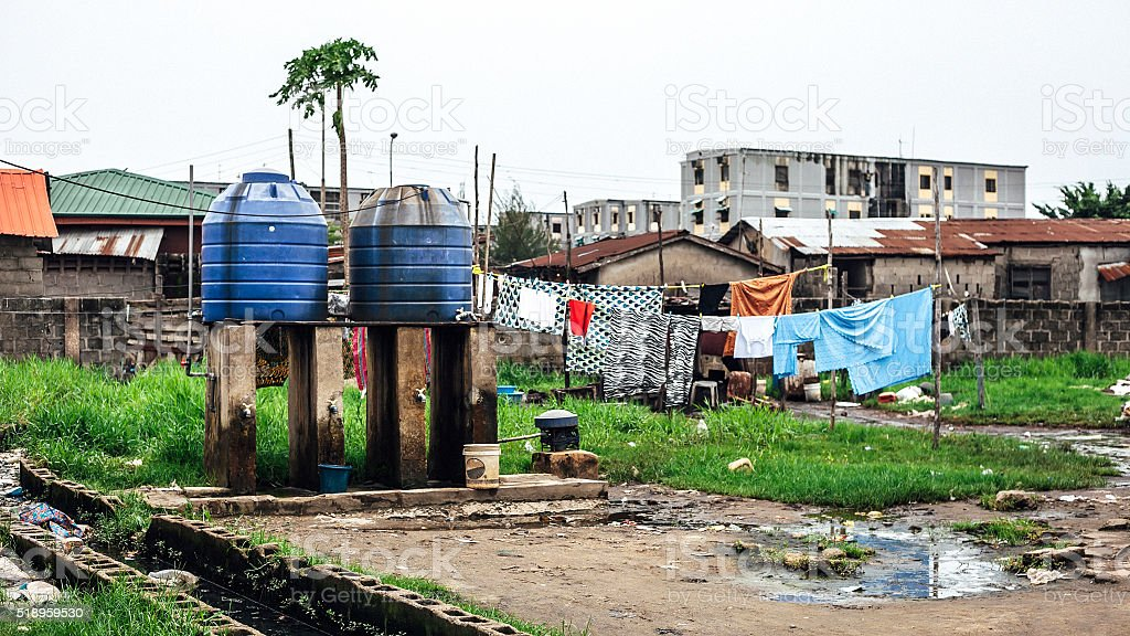 African city slum. Lagos, Nigeria. stock photo