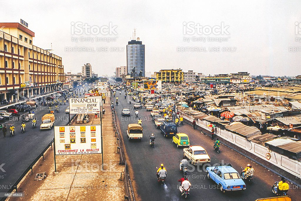 African city street scene. stock photo