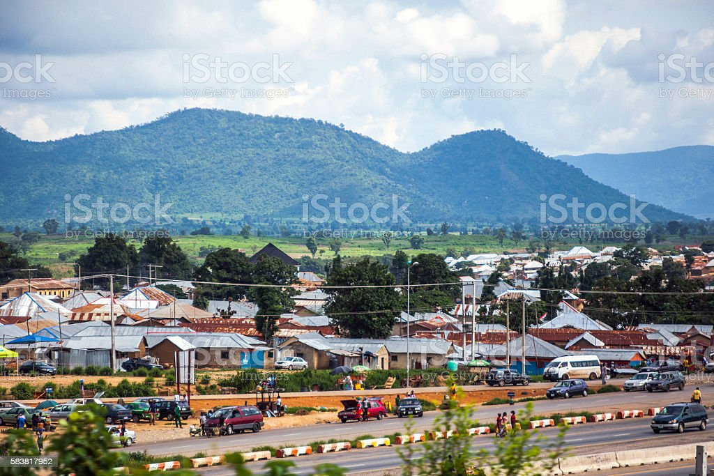 African city suburbs, Abuja, Nigeria. stock photo