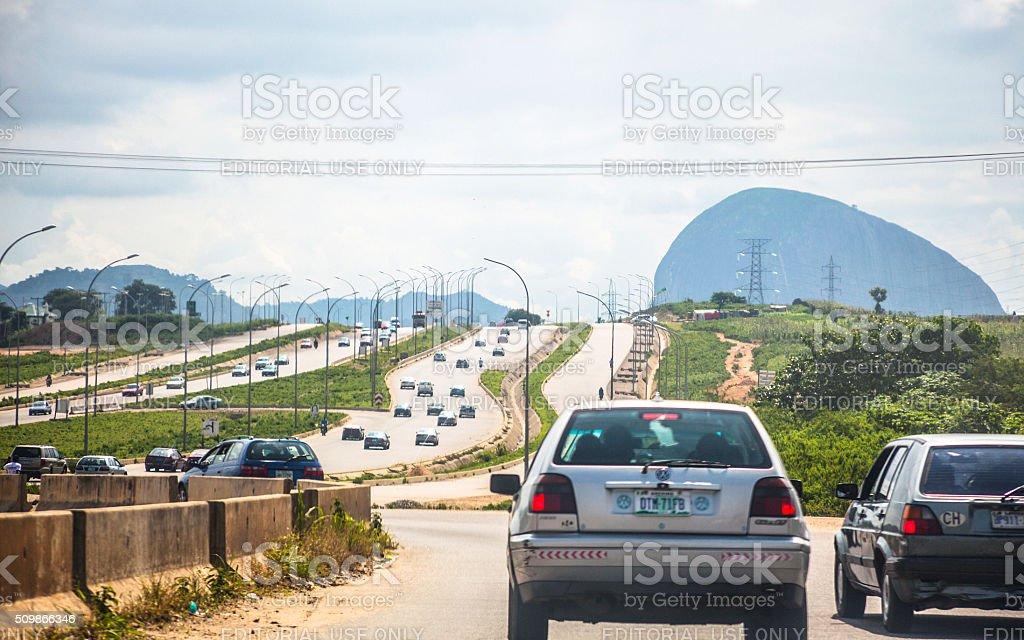African city traffic. Abuja, Nigeria. stock photo