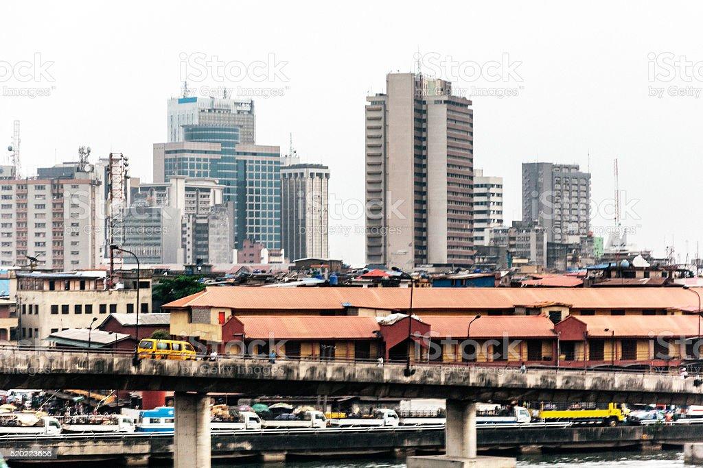 African city view - Lagos, Nigeria. stock photo