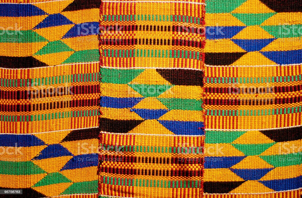 African colored pattern fabric background stock photo