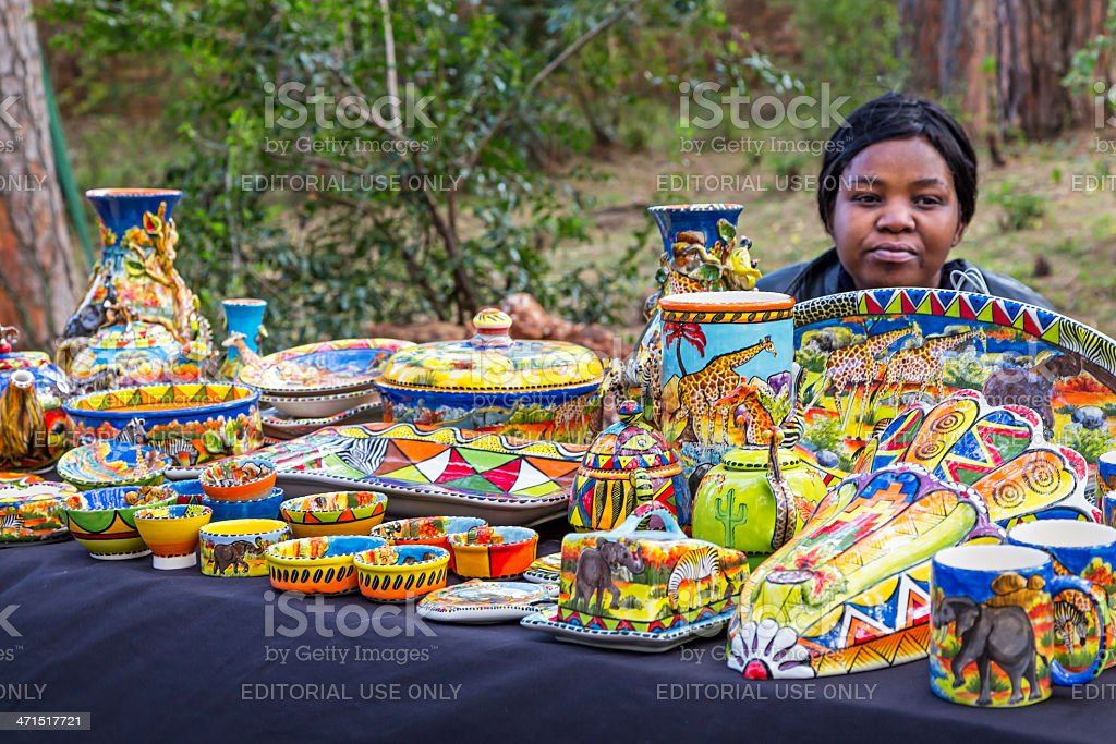 African crafts at Irene Market stock photo