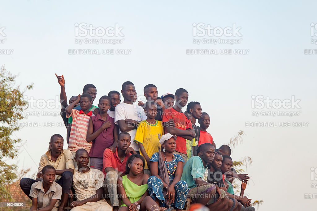 african crowd watching a soccer game stock photo