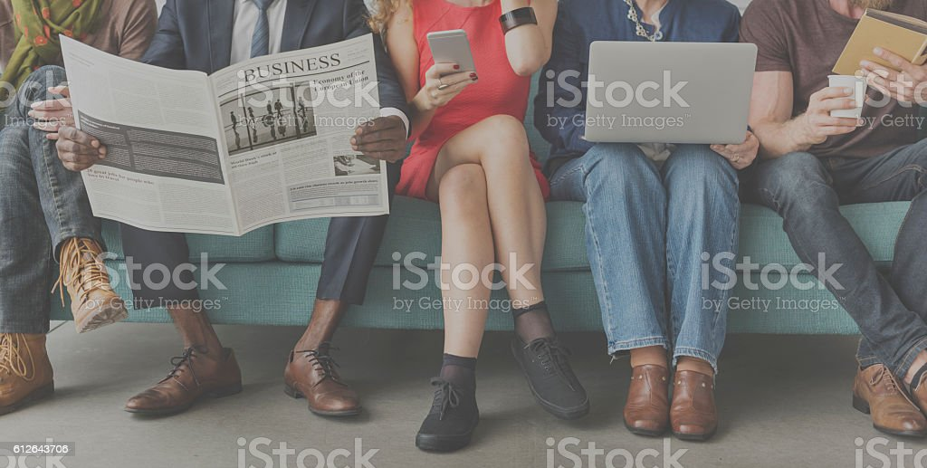 African Descent Colleagues Sofa Friends Concept stock photo