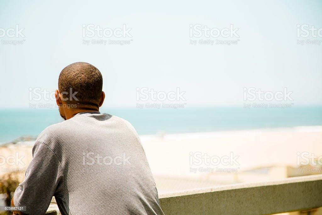 African descent, homeless man at Santa Monica beach, California, USA. stock photo