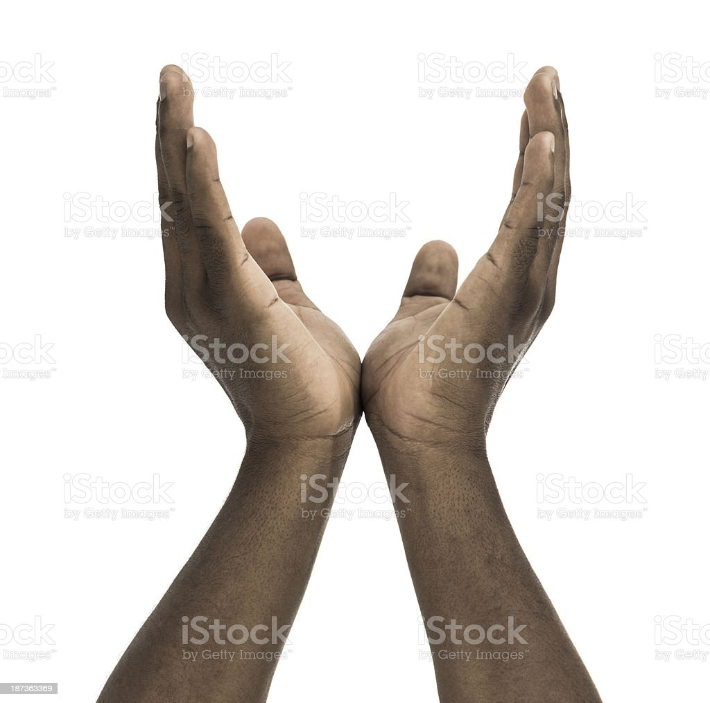 African descent male pleading hands royalty-free stock photo