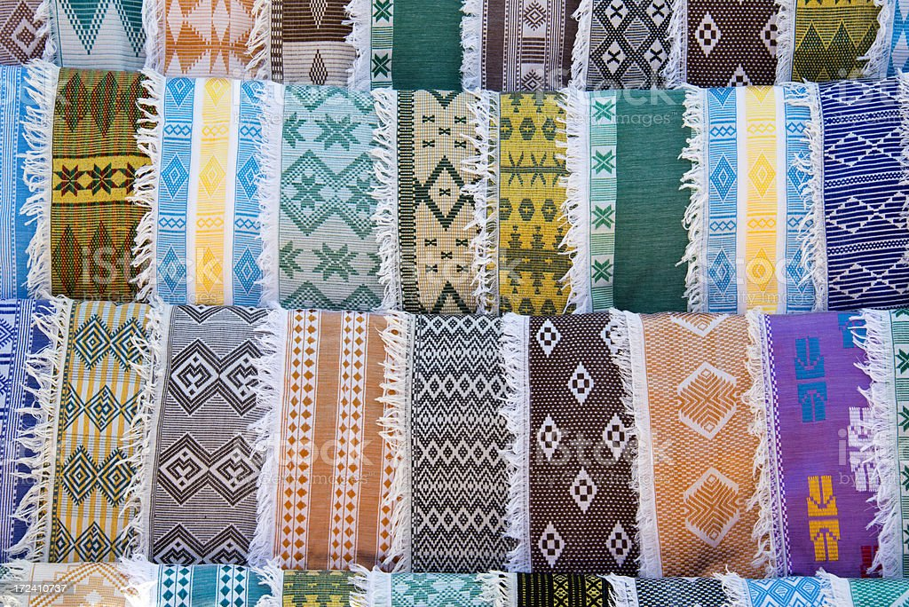 African Embroidered Scarfs stock photo