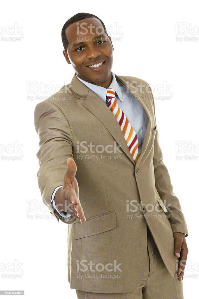 African ethnicity businessman extending hand for handshake stock photo