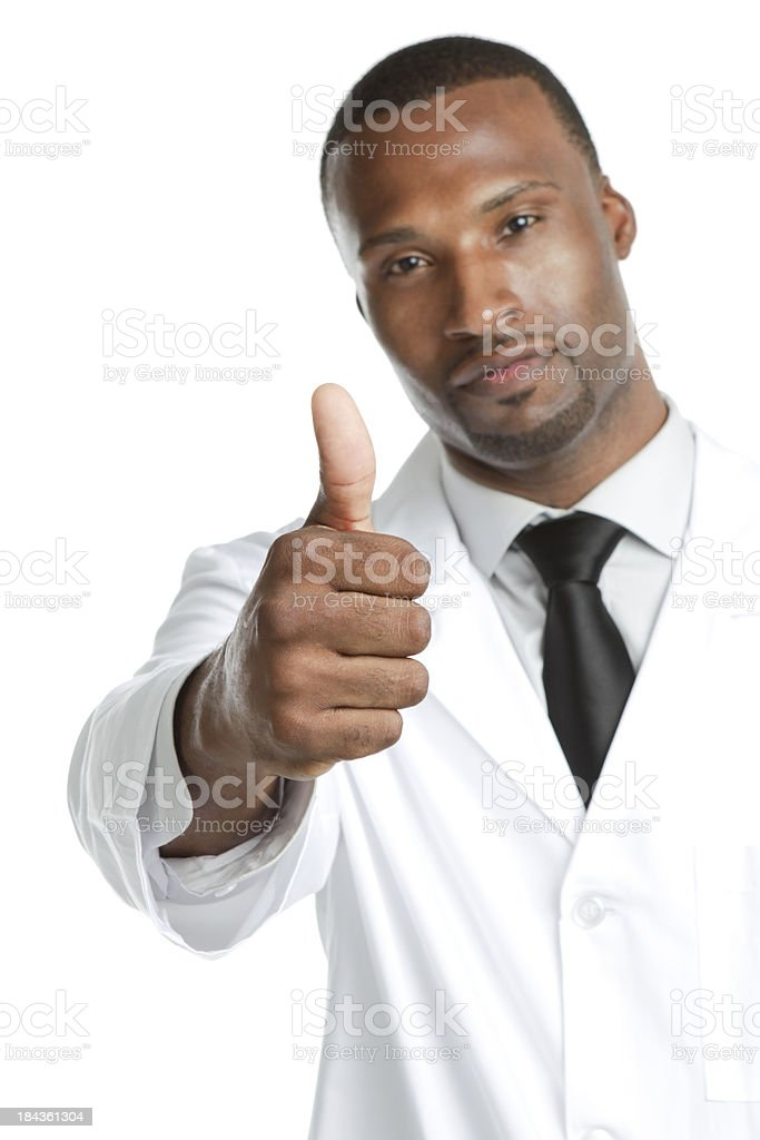 African ethnicity male wearing lab coat gesturing thumbs up royalty-free stock photo
