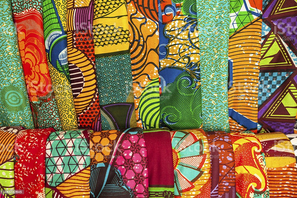 African fabrics from Ghana, West Africa stock photo