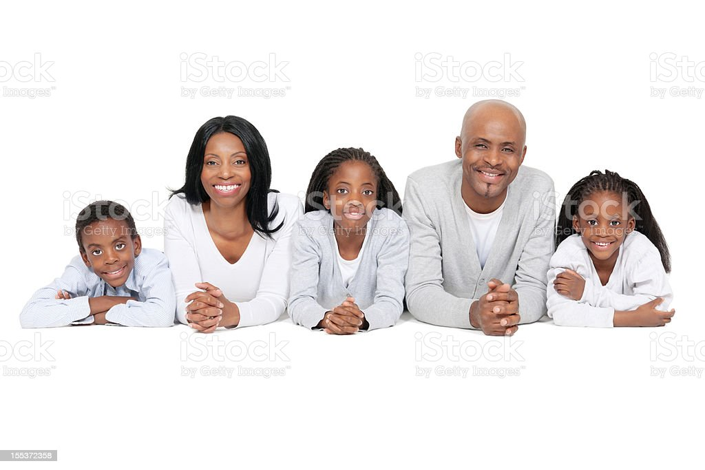 African Family of Five Lying in a Line royalty-free stock photo