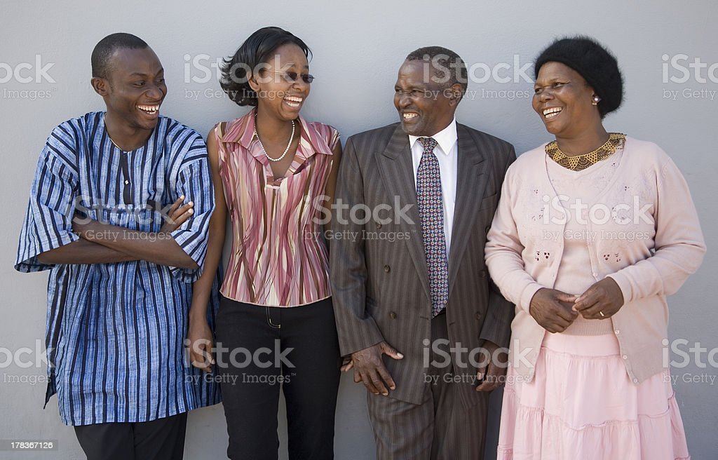 African Family on Grey stock photo