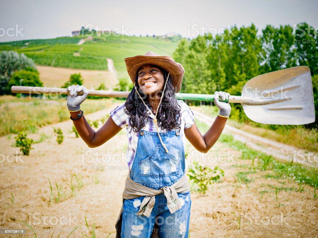 African farmer woman in Italian countryside stock photo
