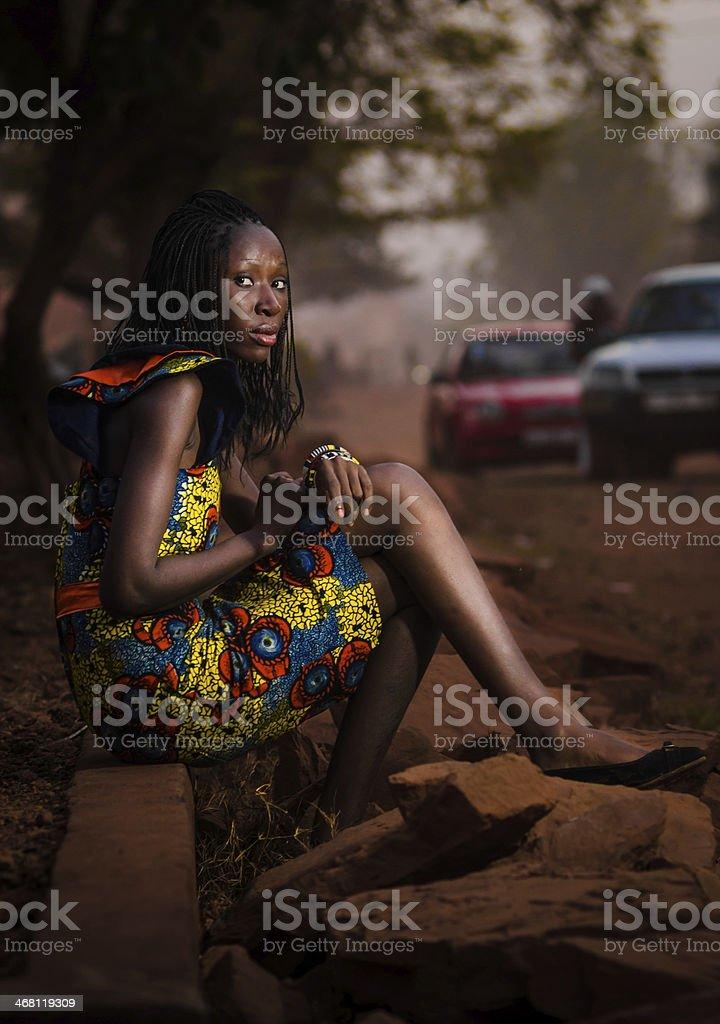 African Fashion Model Street Shot (Bamako, Mali) stock photo