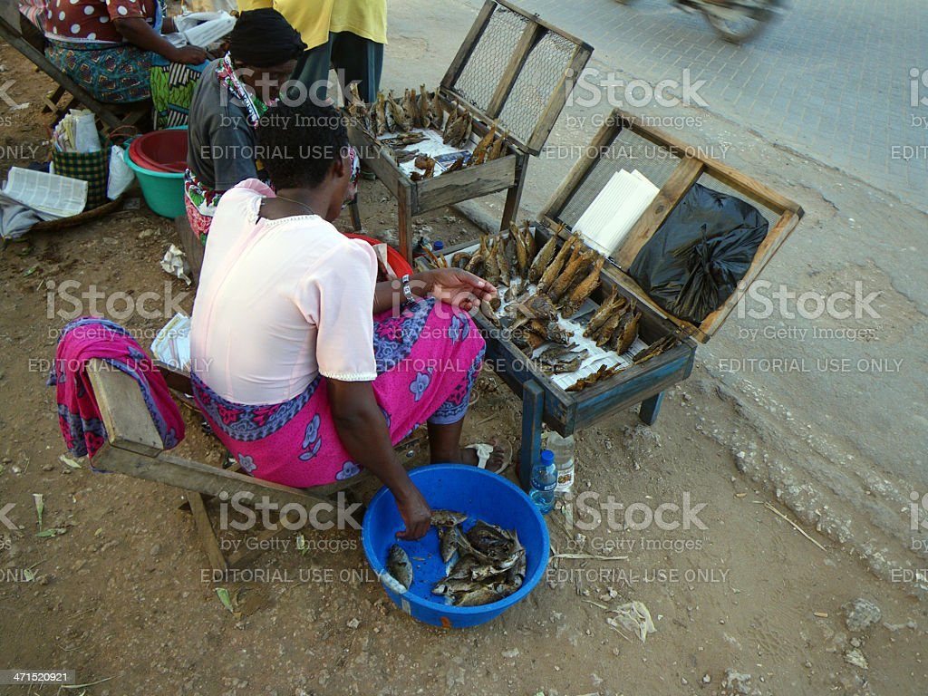 African fish vendor royalty-free stock photo