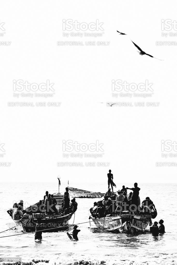 African fishermen - Tanji, The Gambia. stock photo